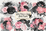 Black Pink and Silver Floral Clipart