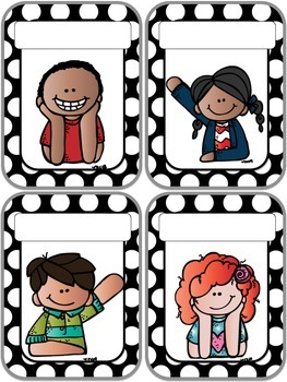 Black Polka Classroom Helpers Set: 5 Sets of Student Cards Included