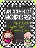 Black Polka Classroom Helpers Set: 5 Sets of Student Cards