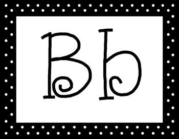Black Polka Dot Alphabet with 5 Fonts