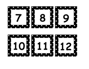 Black Polka Dot Calendar Card Printable.
