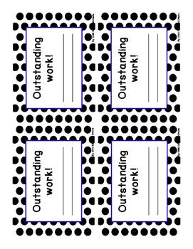 Homework and Reading Teacher Tracking Chart with Award Cert. Black Polka Dot