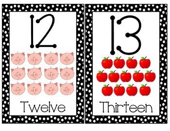 Black Polka Dot - Number Cards