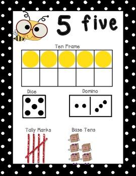 Black Polka Dot Number Posters 1-20