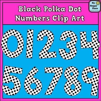 Black Polka Dot Numbers Clip Art