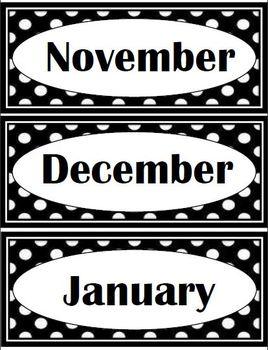Black Polka Dot Theme (bin labels, clock minutes, months, bin labels)