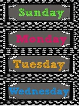 Black Polka Dots and Neon Calendar Time Pieces