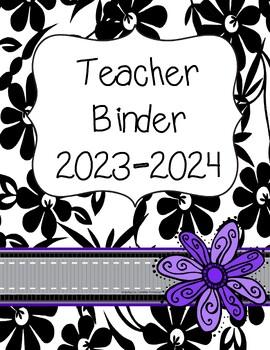 Teacher Binder 2016-2017 (black, purple, gray theme)