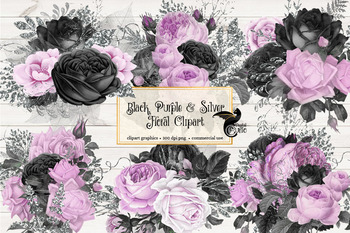 Black Purple and Silver Floral Clipart