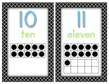 Black Quatrefoil ABC's and 1, 2, 3's - Alphabet and Number Cards