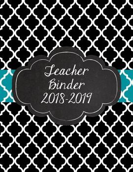 Black Quatrefoil with Teal Moroccan Inspired Teacher Binder