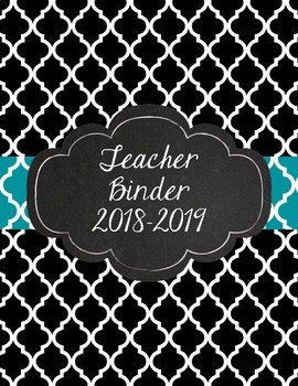 Black Quatrefoil with Teal Moroccan Inspired Teacher Binder