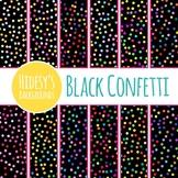 Black Rainbow Confetti Sprinkles Digital Paper / Backgrounds / Clip Art