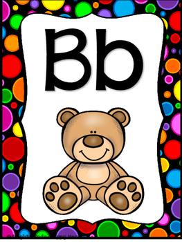 Black Rainbow Dot Alphabet Posters
