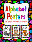 Black Rainbow Dot Alphabet Posters