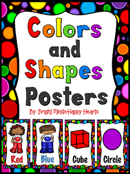 Black Rainbow Polka Dot Colors and Shapes Poster