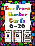 Black Rainbow Polka Dot Tens Frame Number Cards