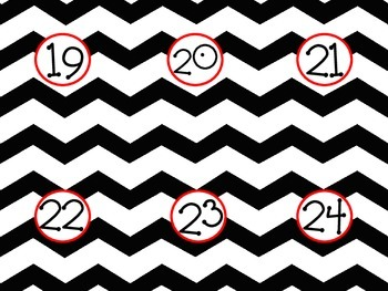 Black & Red Chevron Numbers 1-36