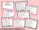 Black & Red Daily 5 Expectations Posters & Choice Rotation Cards {FREEBIE}