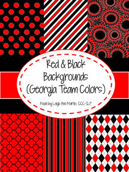 Black & Red Digital Papers (UGA Team Colors)