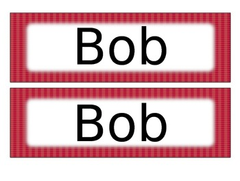 Black & Red Name Tags Desk Plates - Editable
