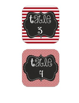 Black & Red Table Numbers