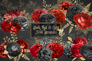 Black Red and Gold Floral Bouquets Clipart