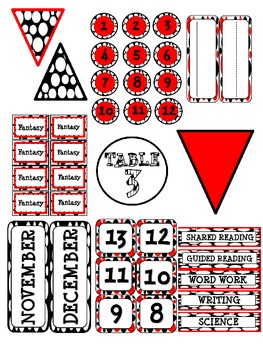 Black, Red, and White Classroom Decor