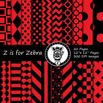Black / Red dual tone Digital Paper Pack  - CU ok { ZisforZebra}