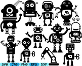 Black Robot robotic robots clip art svg Science School diy