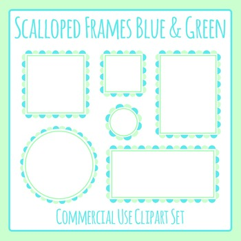 Scalloped Frames Borders Blue and Green Clip Art Set Commercial Use