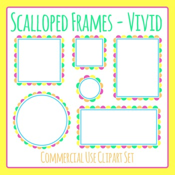 Scalloped Frames Borders Bright Colors Clip Art Set Commercial Use