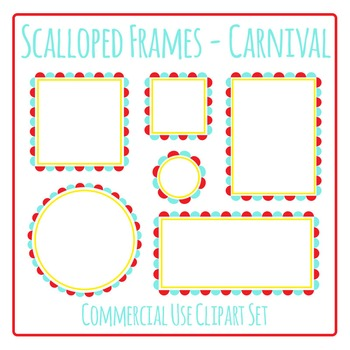 Scalloped Frames Borders Carnival Colors Clip Art Set Commercial Use