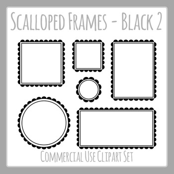 Black Scalloped Frames Borders Double Line Frames Clip Art Set Commercial Use
