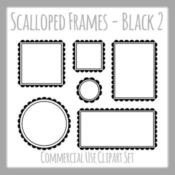 Black Scalloped Frames Borders Double Line Frames Clip Art Set Commercial Use