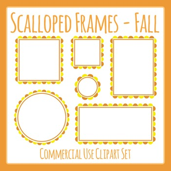 Scalloped Frames Borders Fall Colors Clip Art Set Commercial Use