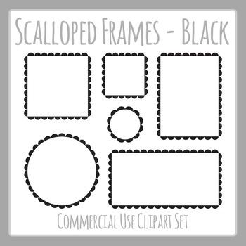 Black Scalloped Frames Borders Outline Frames Clip Art Set