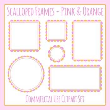 Scalloped Frames Borders Pink and Orange Clip Art Set Commercial Use