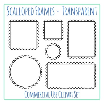 Black Scalloped Frames Borders Transparent Clip Art Set Commercial Use