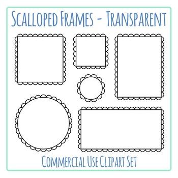 Black Scalloped Frames Borders Transparent Clip Art Set Commercial Use