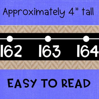 Black Series ~ Burlap Number Line Wall Display ~ -114 to 245
