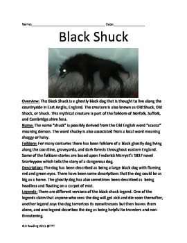 Black Shuck - Cryptid Mythical England Ghost Dog - Lesson Article Questions