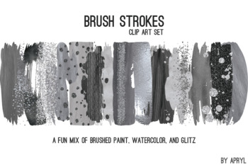Black Silver Brush Strokes Paint Glitter Foil Watercolor 20 PNG Clip Art 12in S3