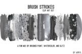 Black Silver Brush Strokes Paint Glitter Foil Watercolor 2