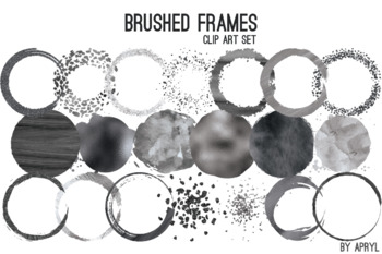 "Black Silver Brushed Round Frames Paint Glitter Watercolor 20 PNG Clip Art 8"" S3"