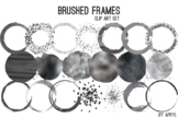 Black Silver Brushed Round Frames Paint Glitter Watercolor