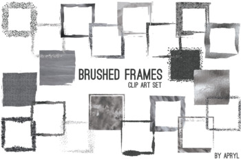 """Black Silver Brushed Square Frames Paint Glitter Watercolor 20PNG Clip Art 8"""" S3"""