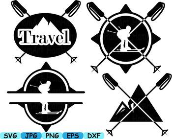 Black Ski Logo Monogram Skiing and Snowboarding circle three 3 name line -124s