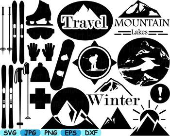 Black Ski sport alpine Skiing team winter clip art svg snow logo super hero 123s