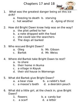 Black Star, Bright Dawn Intermediate Comprehension Packet